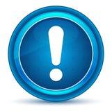Bottone rotondo blu del bulbo oculare dell'icona del punto esclamativo royalty illustrazione gratis