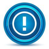Bottone rotondo blu del bulbo oculare dell'icona del punto esclamativo illustrazione vettoriale