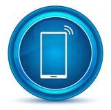 Bottone rotondo blu del bulbo oculare dell'icona del segnale della rete di Smartphone royalty illustrazione gratis