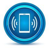 Bottone rotondo blu del bulbo oculare dell'icona del segnale della rete di Smartphone illustrazione di stock