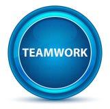 Bottone rotondo blu del bulbo oculare di lavoro di squadra illustrazione vettoriale