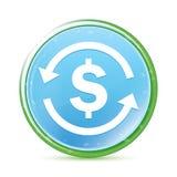 Bottone rotondo blu dell'acqua naturale dell'icona del simbolo di dollaro di scambio di soldi ciano illustrazione vettoriale