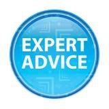 Bottone rotondo blu floreale di parere di un esperto illustrazione di stock
