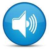 Bottone rotondo blu speciale dell'icona del volume ciano Fotografie Stock