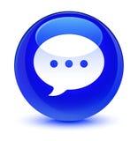 Bottone rotondo blu vetroso dell'icona di conversazione royalty illustrazione gratis
