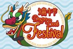 Bottone rotondo con Dragon Boat per l'evento di festival di Duanwu, illustrazione di vettore Fotografie Stock Libere da Diritti