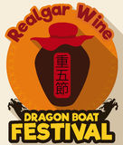 Bottone rotondo con la bottiglia di vino del Realgar per Dragon Boat Festival, illustrazione di vettore Fotografia Stock Libera da Diritti