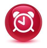 Bottone rotondo rosa vetroso dell'icona della sveglia Immagini Stock