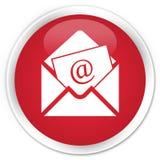 Bottone rotondo rosso premio dell'icona del email del bollettino Immagine Stock Libera da Diritti