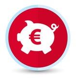 Bottone rotondo rosso principale piano dell'euro icona del segno del porcellino salvadanaio illustrazione di stock