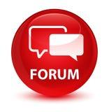 Bottone rotondo rosso vetroso del forum Fotografia Stock