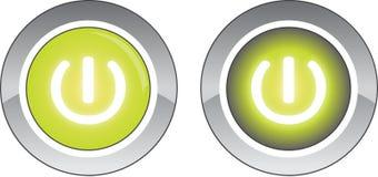 Bottone rotondo verde di potere e bottone spinto Fotografie Stock
