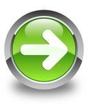 Bottone rotondo verde lucido dell'icona seguente della freccia Fotografia Stock