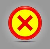 Bottone semplice di web: Cerchio e croce rossa Simbolo trasversale nel colore rosso, illustrazione di vettore Accetti l'icona luc Fotografia Stock Libera da Diritti