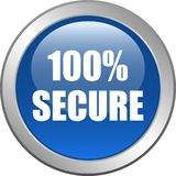 bottone sicuro di web 100 Fotografia Stock Libera da Diritti