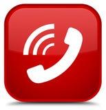 Bottone speciale di squillo del quadrato rosso dell'icona del telefono Fotografia Stock