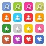 Bottone stabilito di web dell'icona piana dell'aggiunta Fotografia Stock