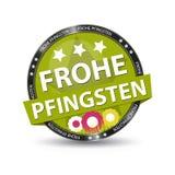 Bottone tedesco Frohe Pfingsten - traduzione di web: Pentecos felice Fotografie Stock Libere da Diritti