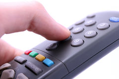 Bottone telecomandato di stampaggio a mano isolato su bianco Immagini Stock