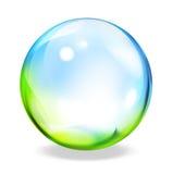 Bottone trasparente rotondo - verde-ciano Fotografie Stock Libere da Diritti
