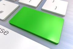 Bottone verde in bianco della tastiera Fotografie Stock