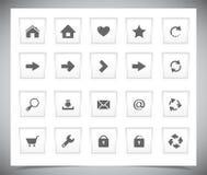 Bottoni bianchi per il web Fotografia Stock