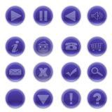 Bottoni blu rotondi brillanti di web Fotografia Stock