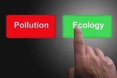 Bottoni con inquinamento ed ecologia ed il dito scritti indicare, su un fondo grigio di pendenza illustrazione vettoriale