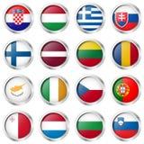 bottoni con le bandiere di paese Fotografie Stock