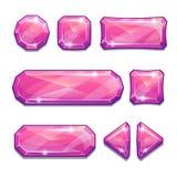 Bottoni a cristallo rosa Fotografie Stock Libere da Diritti