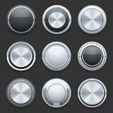 Bottoni d'argento di vettore del cromo del metallo messi Fotografie Stock Libere da Diritti