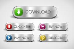 Bottoni d'argento di web Fotografia Stock Libera da Diritti