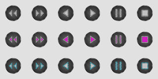 Bottoni del giocatore di vettore con gli elementi del metallo royalty illustrazione gratis
