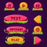 Bottoni del gioco con gli elementi della natura Immagini Stock Libere da Diritti