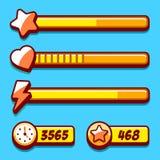 Bottoni del gioco di stile di giallo del menu di opzione Immagine Stock