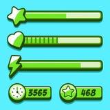 Bottoni del gioco di stile di verde del menu di opzione Fotografie Stock Libere da Diritti