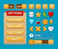 Bottoni dell'interfaccia messi per i giochi o i apps Fotografia Stock