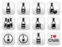 Bottoni della bottiglia della salsa di peperoncini messi Immagine Stock