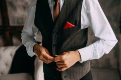Bottoni della maglia del legame del vestito di stile dell'uomo Immagini Stock