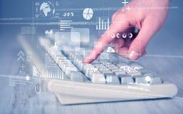 Bottoni della tastiera urgenti a mano con le icone alta tecnologie Fotografia Stock