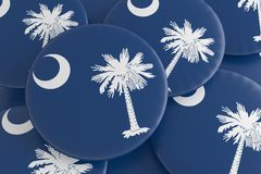 Bottoni dello stato USA: Mucchio dell'illustrazione del sud di Carolina Flag Badges 3d royalty illustrazione gratis