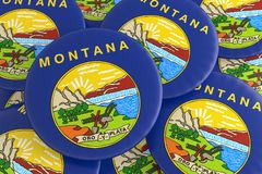 Bottoni dello stato USA: Mucchio dell'illustrazione di Montana Flag Badges 3d illustrazione vettoriale