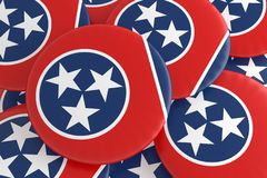 Bottoni dello stato USA: Mucchio dell'illustrazione di Tennessee Flag Badges 3d illustrazione di stock