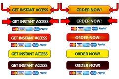 Bottoni di accesso e di ordine Fotografia Stock Libera da Diritti