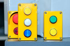Bottoni di commutatore industriali immagine stock