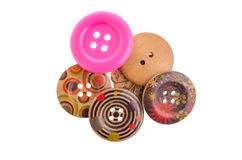 Bottoni di cucito, bottoni di plastica, bottoni variopinti fondo, Bu Fotografie Stock Libere da Diritti