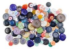 Bottoni di cucito su bianco Fotografie Stock