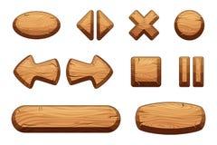 Bottoni di legno messi per il ui del gioco Illustrazioni del fumetto di vettore illustrazione vettoriale