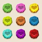 Bottoni di pietra di colori, amuleto antico Fotografia Stock