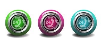 Bottoni di servizio di ventiquattro ore Fotografia Stock